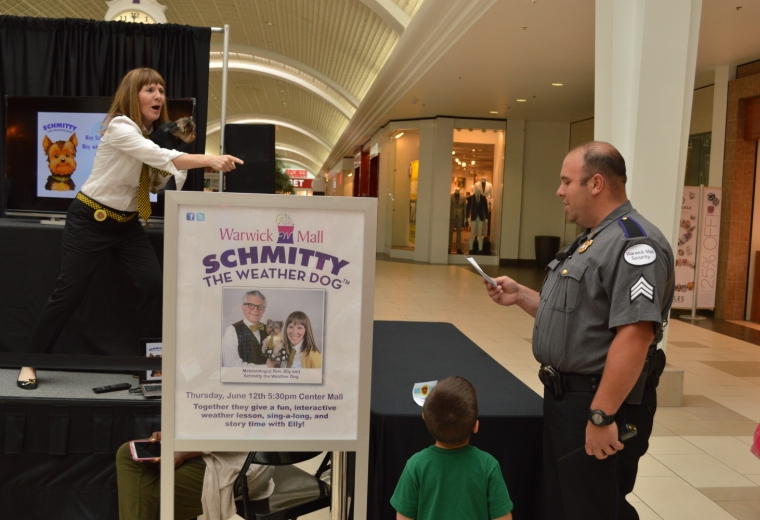 "Warwick Mall security belts out a solo of my ""Schmitty The Weather Dog"" theme song.  Bruce Springstein, eat ya heart out!"