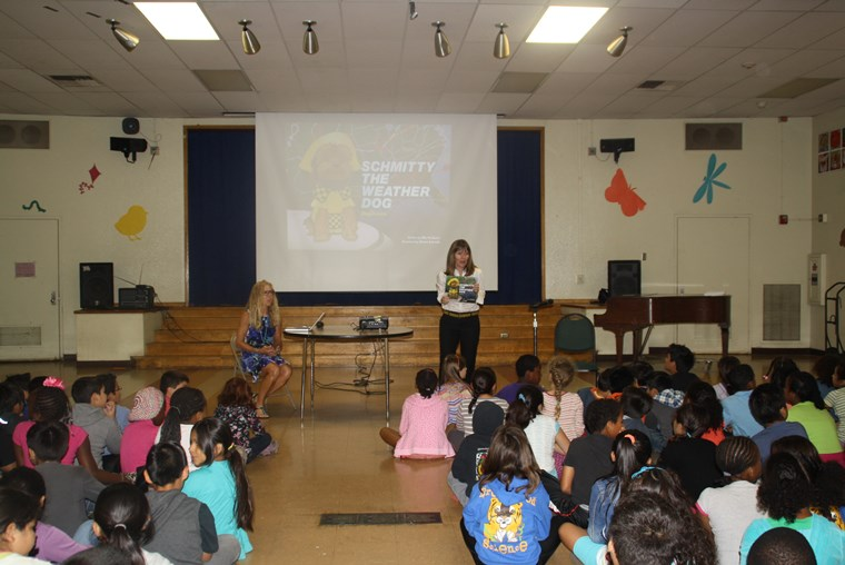 Author Elly introduces my book to the 2nd & 3rd graders while Vice Principal Chavira runs the projector. Hey, it takes a village!  Arf-Arf!