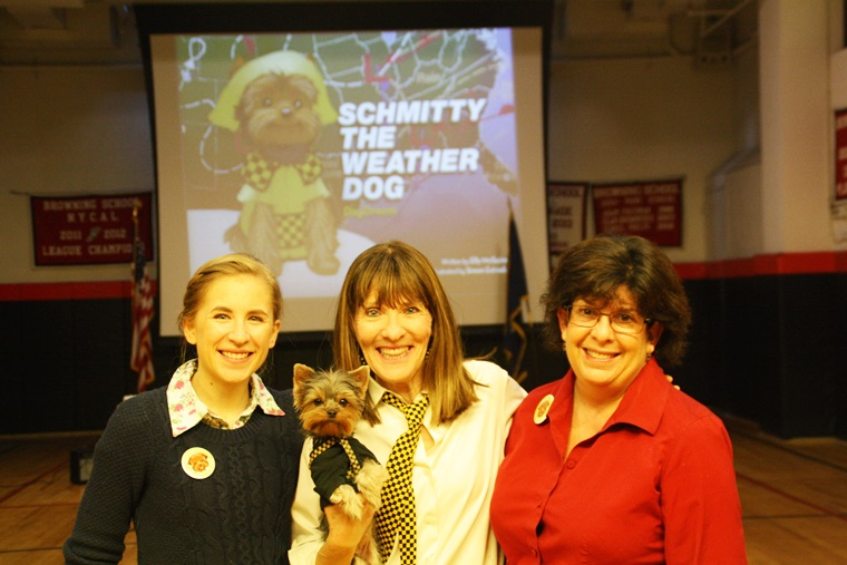 Science teacher Emilie Wolf & Lower School Top Dog Laurie Gruhn help Author Elly & moi get ready for my assembly. Arf-Arf!