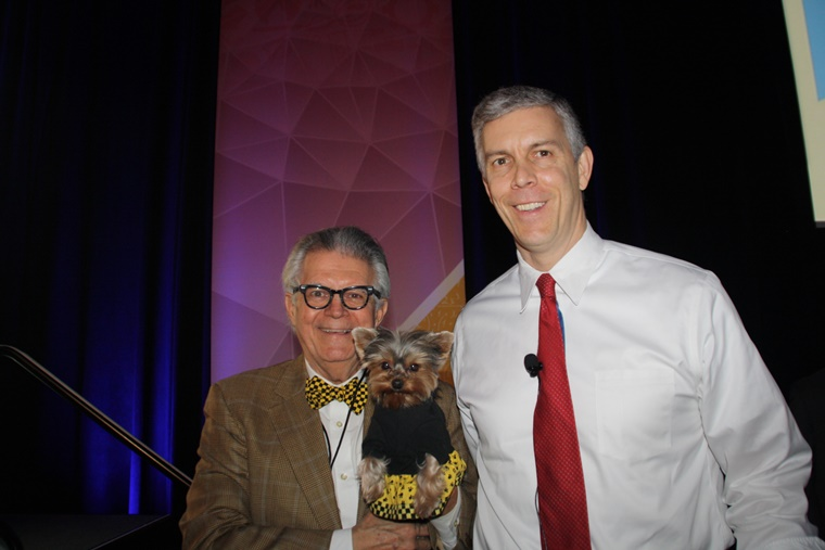 Posing with Secretary of Education, Mr. Arnie Duncan, whose taking education to new heights! Arf-Arf!