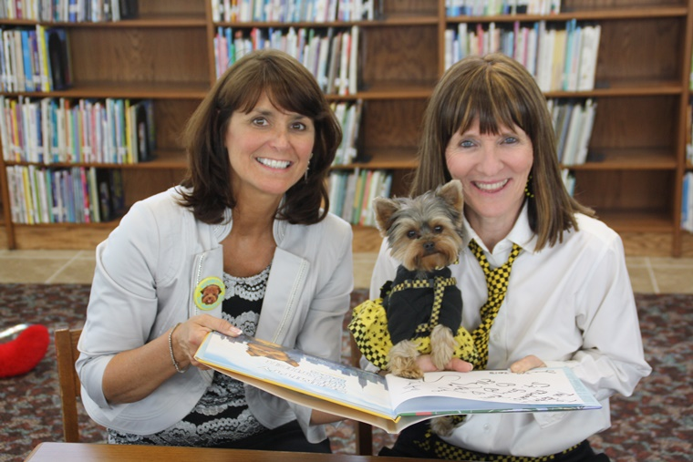 With Principal Henry & Author Elly paw-tographing one of my books for the Rotella Library. It's a lot of work being a STEM star!