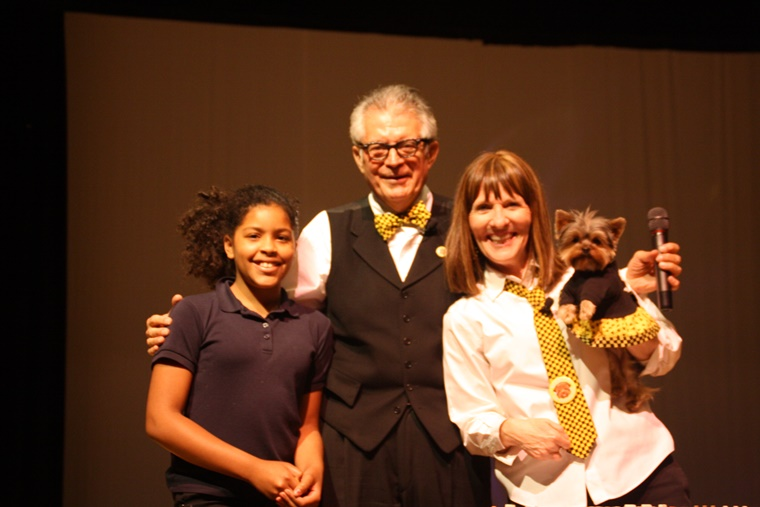 On stage with a Weather Word wiz student winning one of my STWD buttons! I love my job!