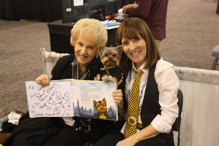 Author Elly & I pawtographed one of my Schmitty The Weather Dog books for Dr Renee and the Holy Angel School in Newark, DE. #fan