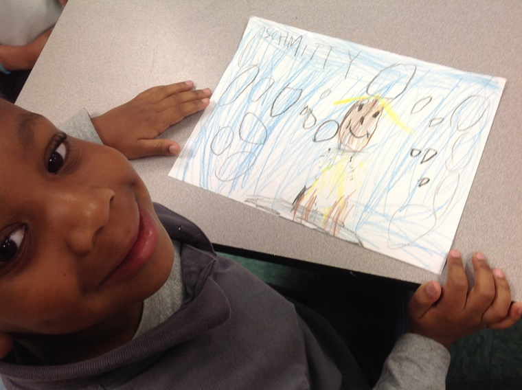 Bow Wow! A budding Picasso captures my furry essence after our assembly at the Rotella School in Waterbury, CT.