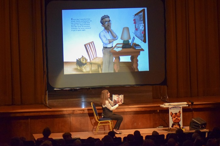 You could hear a dog bone drop as Author Elly read my Schmitty The Weather Dog:Daydream book on stage.