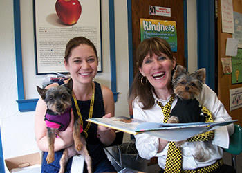 1st Grade Teacher Becky Leuchte, Elly, and Schmitty the Weather Dog