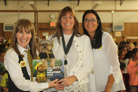 Principal Zacaro Staci, Author Elly and Schmitty The Weather Dog